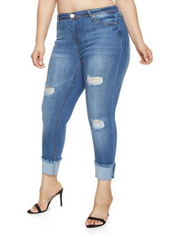 Plus Size Almost Famous Frayed Hem Jeans - 3870015992184