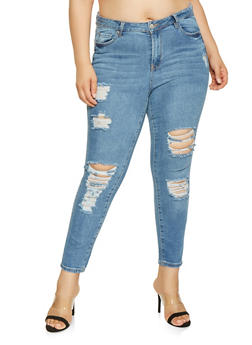 Plus Size Almost Famous Frayed Skinny Jeans - 3870015992186