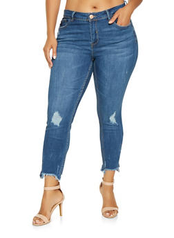 Plus Size Almost Famous Frayed Zip Hem Jeans - 3870015992777