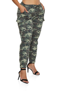 Plus Size Almost Famous Camo Cargo Joggers | 3870015992858 - 3870015992858