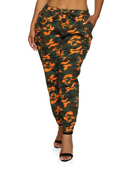 Plus Size Almost Famous Cargo Camo Joggers - 3870015992859