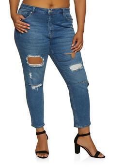 Plus Size Almost Famous Whiskered Destruction Jeans - 3870015993222