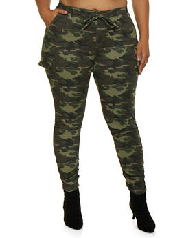Plus Size Almost Famous Cargo Camo Jeggings - 3870015993444