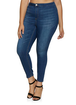 Plus Size Almost Famous High Waisted Stretch Skinny Jeans - 3870015993999