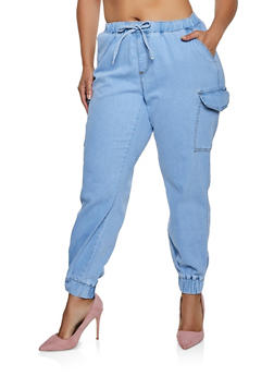 Plus Size Almost Famous Denim Cargo Joggers - 3870015995004