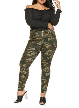 Plus Size Almost Famous Camo Jeans - 3870015995858