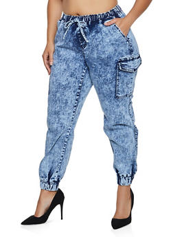 Plus Size Almost Famous Acid Wash Cargo Joggers - 3870015996004