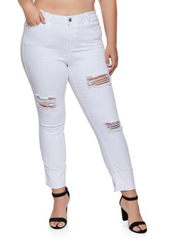Plus Size Almost Famous Ripped Fixed Cuff Jeans - 3870015998411