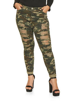 Plus Size Almost Famous Ripped Camo Jeans - 3870015998585