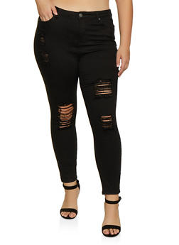 Plus Size Almost Famous Ripped Skinny Jeans - 3870015998611