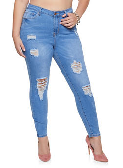 Plus Size Almost Famous Distressed Whisker Wash Jeans - 3870015998641