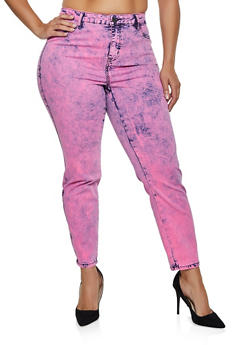 Plus Size Almost Famous Colored Acid Wash Jeans - 3870015999993