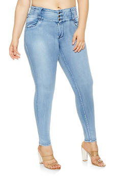 Plus Size 3 Button Skinny Jeans - 3870041759621