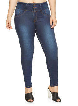 Plus Size 3 Button Skinny Jeans - 3870041759622