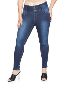 Plus Size 3 Button Skinny Jeans - 3870041759624