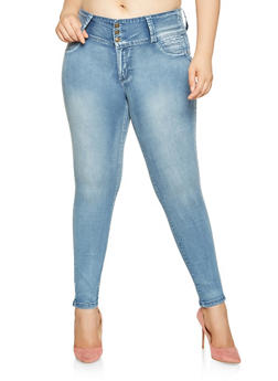 Plus Size 3 Button Jeans - 3870041759723