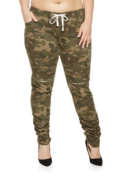 Plus Size Ruched Moto Jeggings - 3870062701572
