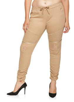 Plus Size Ruched Moto Joggers - 3870062701573