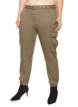 Plus Size Belted Cargo Joggers - 3870062707068