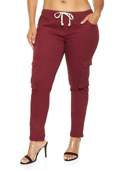 Plus Size Solid Cargo Jeggings - 3870062708088