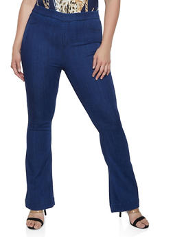 Plus Size Pull On Flared Jeggings - 3870063152344