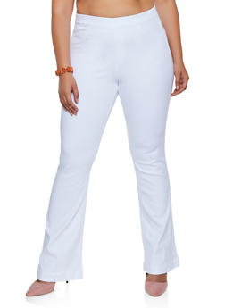 Plus Size Cello Flared Pull On Jeans | White - 3870063154235