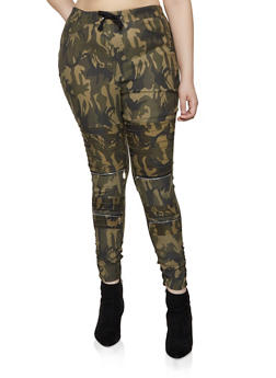 Plus Size Camo Ruched Moto Jeggings - 3870063401349