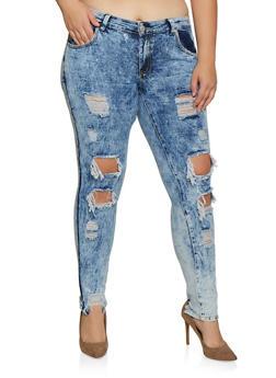 Plus Size Acid Wash Destroyed Jeans - 3870063402646