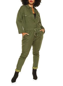 Plus Size Button Front Jumpsuit - 3870063402701