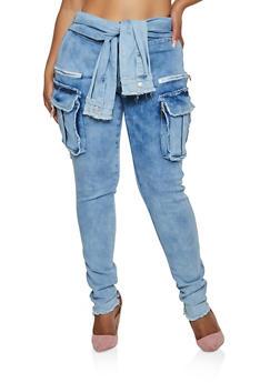 Plus Size Tie Front Cargo Jeans - 3870063403742