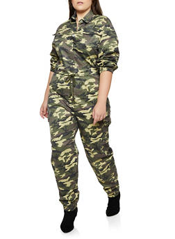 Plus Size Button Front Cargo Jumpsuit - 3870063404233