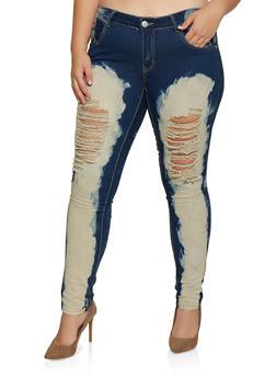 Plus Size Bleached Jeans - 3870063404678