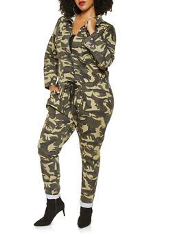 Plus Size Oversized Camo Denim Jumpsuit - 3870063409270