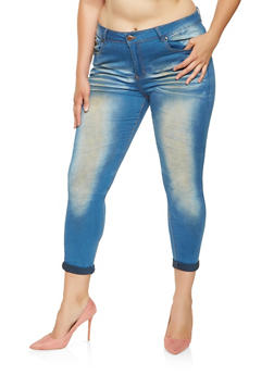 Plus Size VIP Whisker Wash Skinny Jeans - 3870065300069