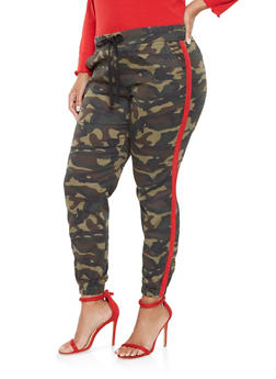 Plus Size Camo Side Stripe Joggers - 3870065300259