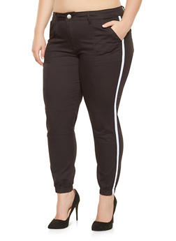 Plus Size Side Tape Twill Joggers - 3870065301275