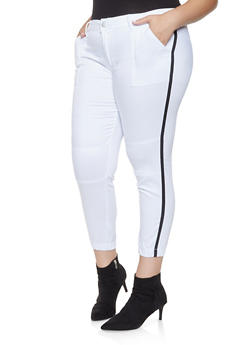 Plus Size Side Tape Push Up Jeggings - 3870065301276