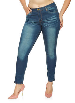 Plus Size VIP Whisker Wash Push Up Jeans - 3870065301691