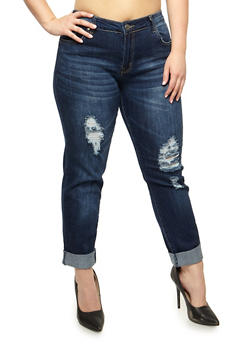 Plus Size VIP Rolled Cuff Skinny Jeans - 3870065301951