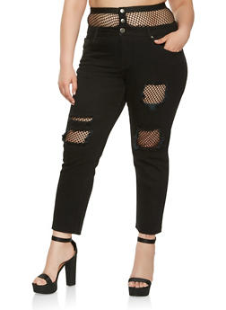 Plus Size VIP Fishnet Trim Jeans - 3870065308315