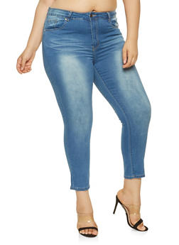 Plus Size VIP Whisker Wash Push Up Jeans - 3870065308399