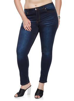 Plus Size VIP Whisker Wash Push Up Jeans - 3870065308649
