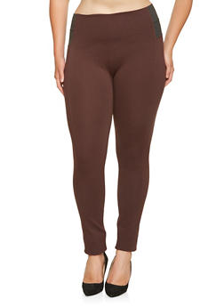 Plus Size Elastic Waist Ponte Pants - 3870068192001