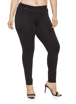 Plus Size Ponte Knit Pants - 3870068193119