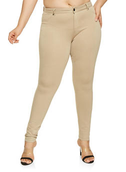 Plus Size Ponte Knit Pants - 3870068193119