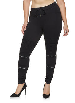 Plus Size Ponte Knit Moto Jeggings - 3870068193197