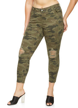 Plus Size Highway Camo Skinny Jeans - 3870071311393