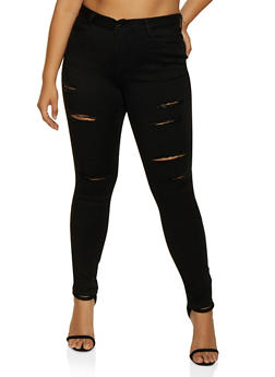 Plus Size WAX Slashed Skinny Jeans | 3870071610003 - 3870071610003