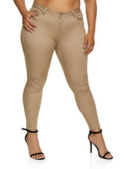 Plus Size WAX Solid Skinny Jeans - 3870071610013