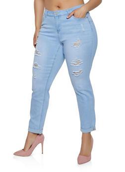 Plus Size WAX Distressed Fixed Cuff Jeans - 3870071610033